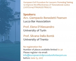 Save the date: 23 June 2017, a training seminar in Lucca on the Brussels I Recast Regulation