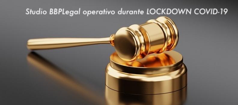 Lo Studio BBPLegal rimane operativo durante LOCKDOWN COVID-19